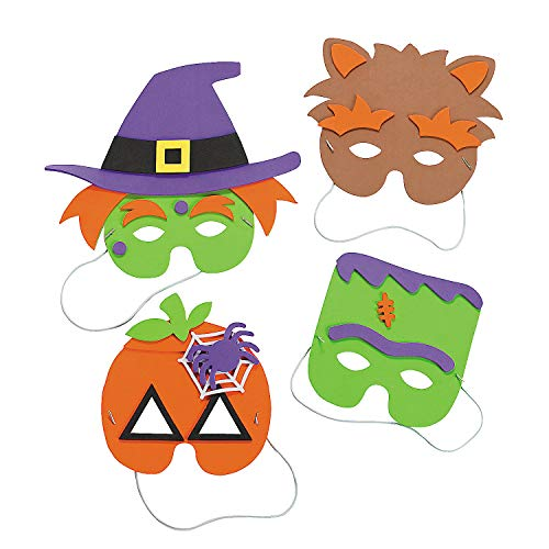 October Halloween Crafts (Halloween Mask Craft Kit - Crafts for Kids & Hats & Masks, 1 dozen Assorted)