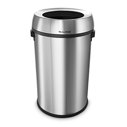 Alpine Industries Stainless Steel Open Top Trash Can, (17 Gallon, Silver) - Open Top Receptacle Finish
