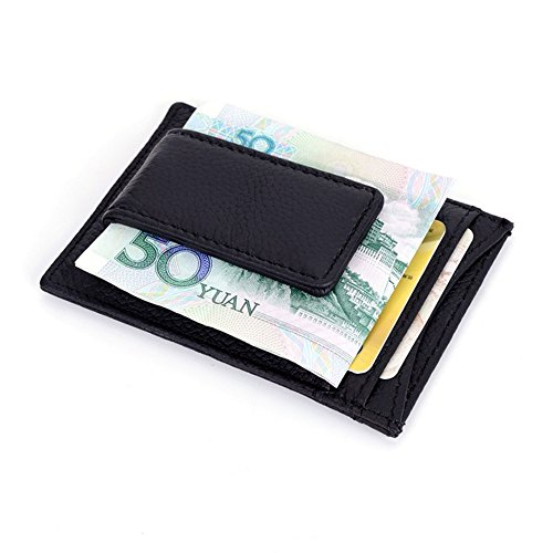 RFID blocking Genuine Leather Front Pocket Wallet with Magnet Clip and Card ID Case Men Wallet Id&card Holder (Black)