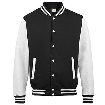 Awdis Unisex Varsity Jacket (M) (Jet Black/ Heather Grey)