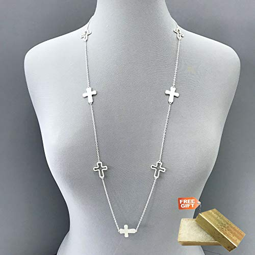 Unique Long Chain Silver Finish Outline Religious Cross Pendant Charms Necklace Set For Women + Gold Cotton Filled Gift Box for Free