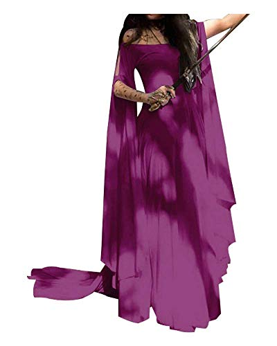 Momo Womens Plus Size Greek Roman Goddess Costume Renaissance Medieval Costume Dress Over Long Dresses (Purple, S)