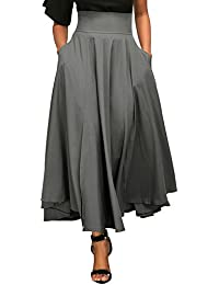 Women High Waist Front Slit Belted Casual A-Line Pleated...