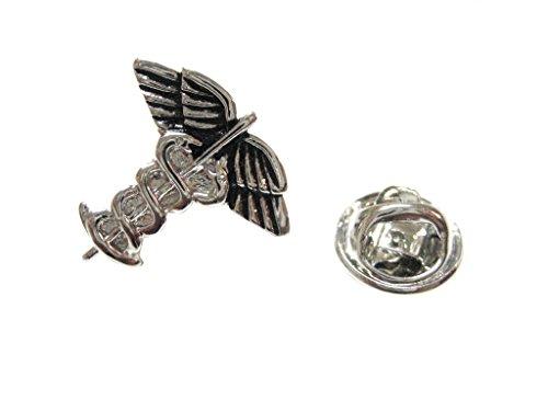 Kiola Designs Caduceus Silver & Black Toned Medical Symbol Lapel Pin