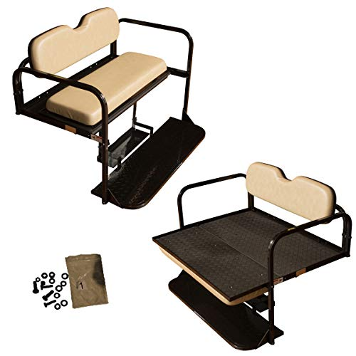 Performance Plus Carts EZGO TXT Golf Cart Rear Flip Folding Back Seat Kit, 1995 and Up - Factory Tan Cushions