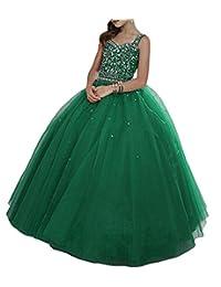 PuTao Little Girls' Crystal Straps Princess Floor Length Kids Party Pageant Dresses