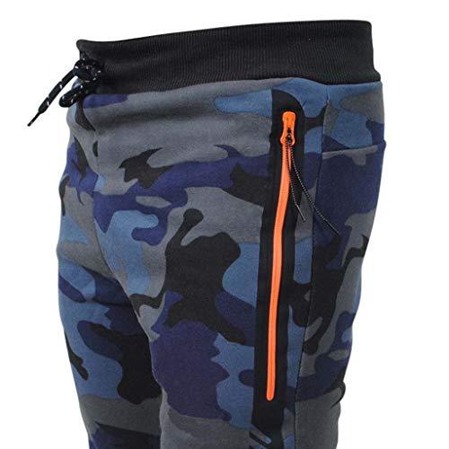 Bleu Plein Poche Tifiy Chaîne Mode Décontractée Hommes Emballages Sports Un Air Piqûre Cordon Foncé De Des Pantalon Épissage Noir Camouflage Serrage xAxrHYP4nw
