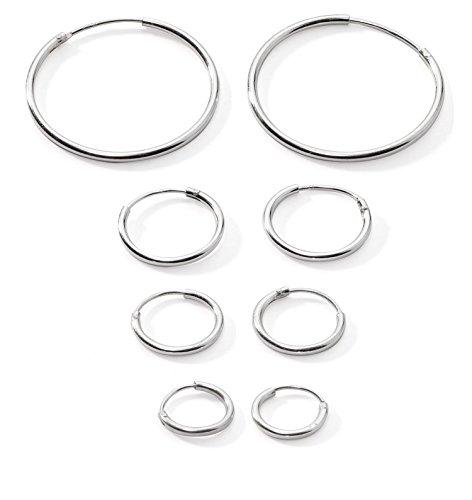 se/Lips Sterling Silver 925 Small Endless Hoop Earrings 10mm, 12mm, 14mm & 20mm ()