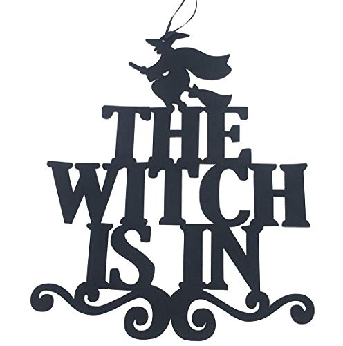 KOOTIPS Halloween Welcome Sign Hanging Tag with Witch Hat Pattern Decoration Props for Door Window Bar Shopping Malls Halloween Decorations
