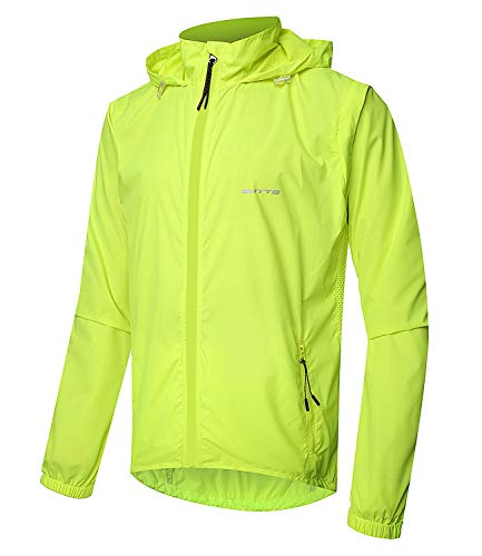 Outto Men's High Visibility Cycling Jacket Convertible UPF50+ Windproof Lightweight Windbreaker(Large,#180012 Fluorescent Green)