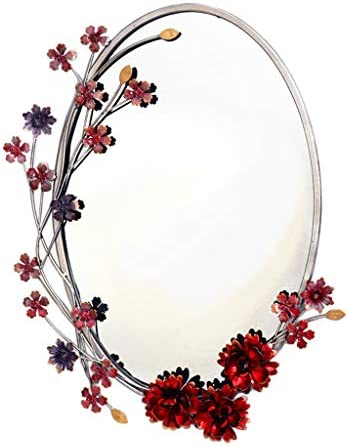 Oval Vanity Wall Mirror Bathroom Makeup Mirror Ornate Decorative Framed Living Room Bedroom Hallway Entryways Wall-Mounted 19.7 inch x 15 inch