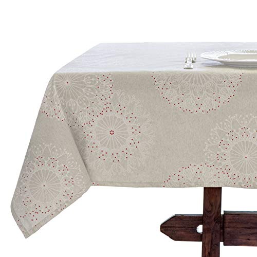 Amelie Michel Wipe-Clean French Tablecloth in Cleome Natural | Authentic French Acrylic-Coated 100% Cotton Fabric | Easy Care, Spill Proof [60