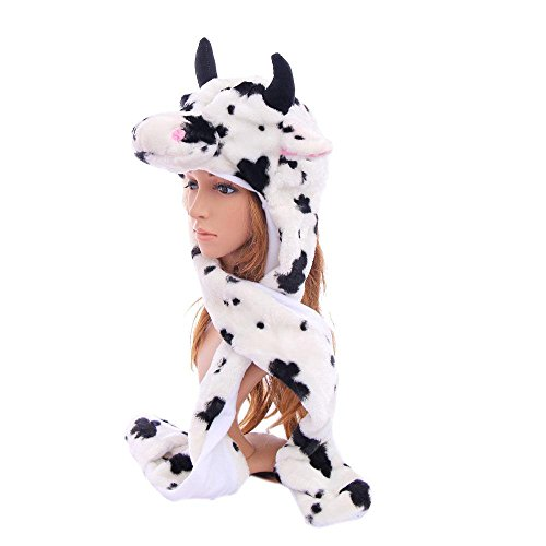 Cow_(US Seller)Animal Hat Winter Hat Fluffy Warm Cap Mittens Scarf
