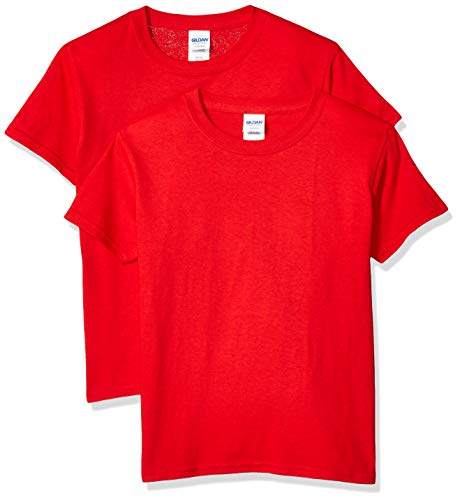 Childrens T-shirt Tee - Gildan Kids' Big Heavy Cotton Youth T-Shirt, 2-Pack, Red, Small