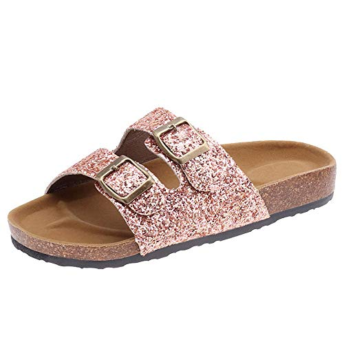 MRHUS Women's Cow Suede Leather Flat Sandals,121-Strap Adjustable Buckle,Casual Slippers,Slide Cork Footbed Shoes for Women/Ladies/Girls Rose Gold ()