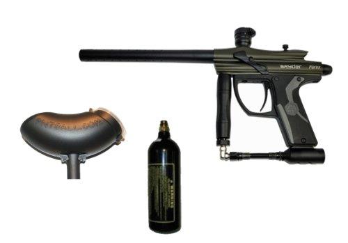Spyder Fenix Electronic Paintball Marker Gun 3Skull Marker Package - Olive Green