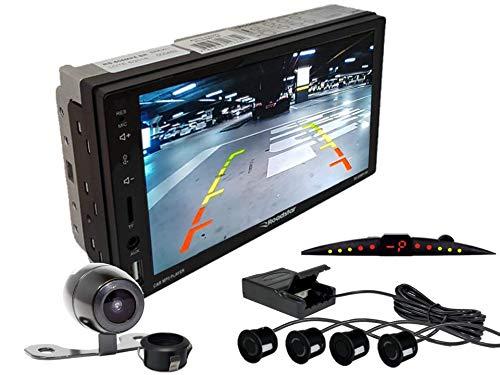 Multimidia Mp5 RS-505MP5 Com Câmera De Ré RS-121BR E Sensor De Estacionamento RS-204BR PRETO