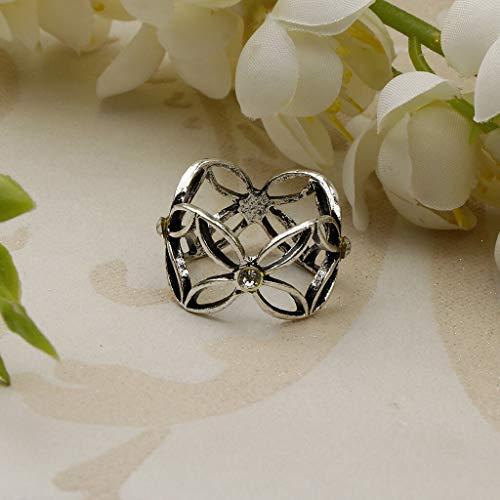 (Unique Hollow Design Scarf Ring Clips Silk Scarves Buckle Scarf Slide Clip (Color - Antique Silver))