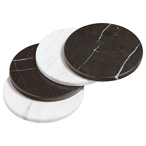 "Rivet Modern Set of 4 Marble Coasters, 4"" H, Black and White"