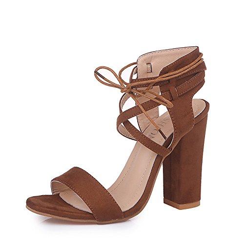 Chunky Primavera vestire donna caviglia sandali sintetico per pompa Slingback PU aperta punta tallone Brown ZHZNVX alla lacci Light Scarpe Estate microfibra cinturino base OXRn56q
