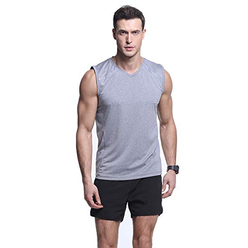 Men's Performance Slim-Fit Mesh Stretchy Sleeveless Tank Top Quick-Dry Athletic Shirts Gray