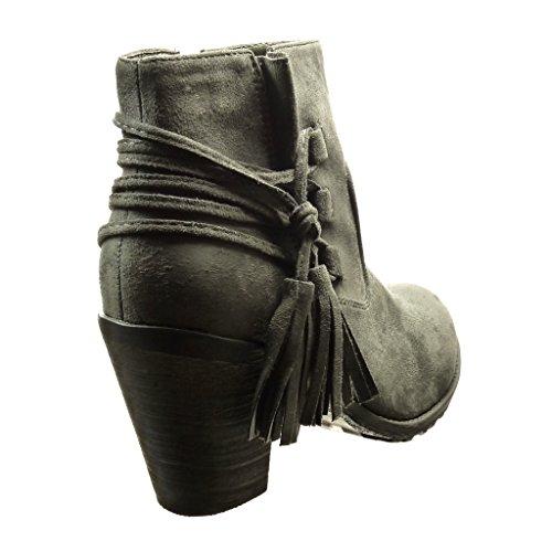 Angkorly - damen Schuhe Stiefeletten - Reitstiefel - Kavalier - Bommel - Fransen Blockabsatz high heel 7 CM Grau