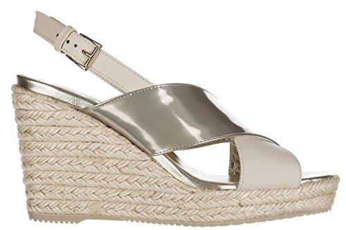 Hogan Zapatos Cuñas Plataformas Mujer EN Piel Nuevo Beige
