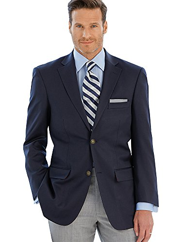 Paul Fredrick Men's 100% Wool Two-Button Travel Blazer Navy 44 Extra-long by Paul Fredrick