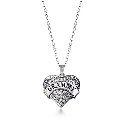 Inspired Silver Grammy Pave Heart Charm Necklace Clear Cystal Rhinestones
