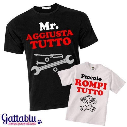 Set padre e figlio t-shirt uomo + t-shirt bimbo Mr. Aggiusta Tutto + Piccolo Rompi Tutto