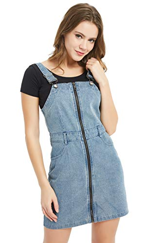 (Tronjori Women's Zip Front Classic Adjustable Strap Overall Denim Skirt Dress(L,Blue))