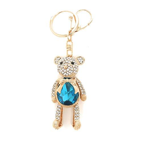 Teddy Bear Design Keychain (Cute Teddy Bear Sapphire Blue Crystal Rhinestone Keychain Gold Tone Key Ring Bag Accessories for Women and Girls (Sapphire cute bear))