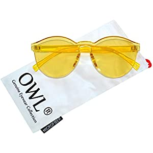 Steampunk Gothic - 002 Retro Vintage Hippie Colored Metal Round Circle Frame Sunglasses Colored Lens OWL (Colorful_Transparent_Yellow, PC Lens)