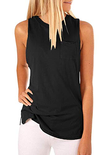 (Women's High Neck Cami Tank Top Sleeveless T Shirts Plain Pocket Summer Tops (Black, XL))