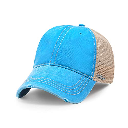 - Vintage Distressed Trucker Hat I Adjustable Back I Unisex Headwear (Aqua)