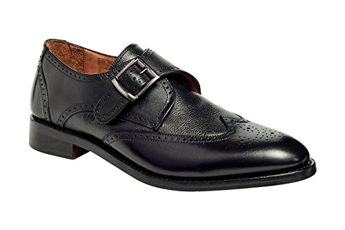 Anthony Veer Men's Roosevelt III Single Monk Strap Brogue Leather Shoe in Goodyear Welted Construction (8 D, Black)
