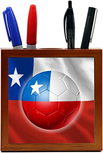 Rikki Knight Russia World Cup 2018 Chile Team Football Soccer Flag Design 5 inch Tile Wooden Tile Pen Holder by Rikki Knight