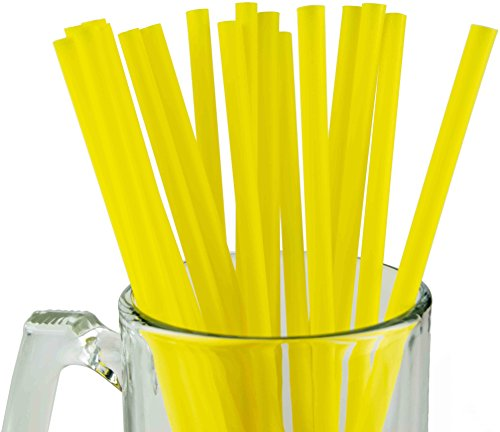 "Made in USA Pack of 100 Yellow Jumbo Plastic Smoothie (10"" X 0.28"") Drinking Straws (FDA-approved, Non-toxic, BPA-free)"