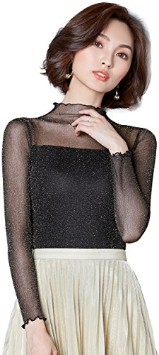 Ababalaya Women's Sexy Retro Turtleneck Glitter Sheer Lace Long Sleeve Blouse Top Clubwear,636Black,M