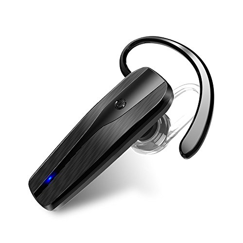 Bluetooth Headset, Rapidtronic Hand Free Voice Prompt Wireless Earpiece Noise Reduction Earbuds with Mic Crystal Clear Sound for Business/Trukers/Driver Pair with Android Iphone-Black