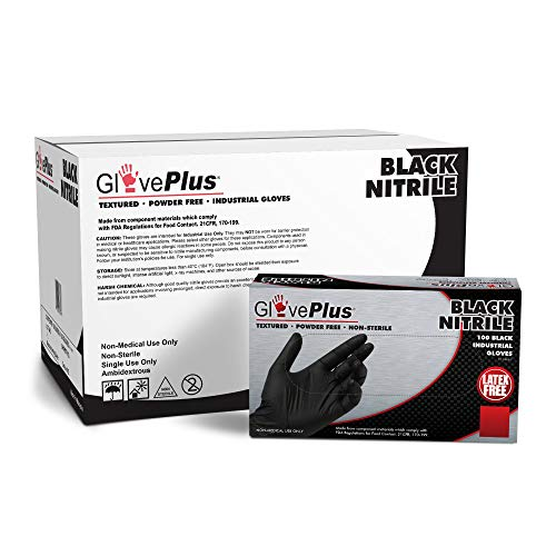 GLOVEWORKS Industrial Black Nitrile Gloves, Case of 1000, 5 Mil, Size Large, Latex Free, Powder Free, Textured…