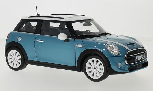 Mini Cooper S , metallic-blau/weiss, 2015, Modellauto, Fertigmodell, Norev 1:18