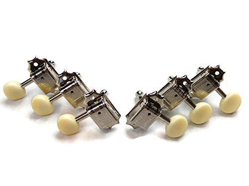 - Kluson Guitar 3+3 Oval White Button Double Line Nickel Tuning Pegs Gibson