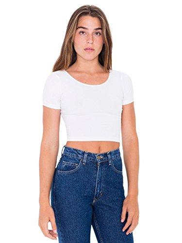 Quick Halloween Costumes 2016 (Angel Legend Girl's Basic Short Sleeve Scoop Neck Crop Top Summer Tee T-shirt Tank Cami Tops Vest White,XS)