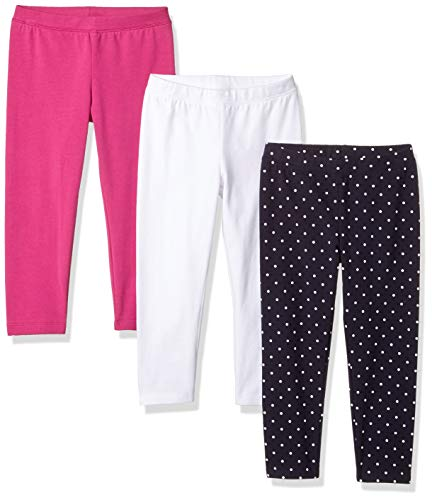 Amazon Essentials Toddler Girls' 3-Pack Capri Legging, Bright White/Simple dot Navy Blazer/Festival Fuchsia, 4T
