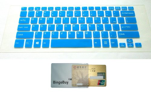 BingoBuy Semi-Blue Backlit High Quality Silicone Keyboard Protector Skin Cover for SONY VAIO Fit Laptops (Fit 14, 14A); Flip PCs (Fit 13 / 13A, Fit 14 / 14A, Fit 15 / 15A), Pro 13 Ultrabooks (if your