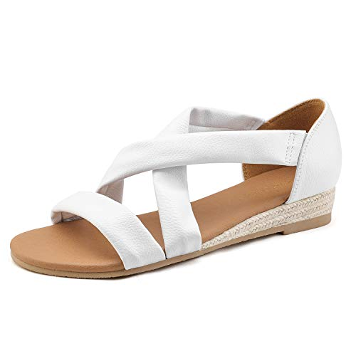 DREAM PAIRS Women's White Low Wedge Sandals Dress Sandals Size 5 M US Formosa_8