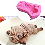 Shar Pei Silicone Cake Mold, SIKSIN 3d Puppy Cake Decoration Dessert Mould Candy Soap Ice Making 4Inch Pink - 1st Generation