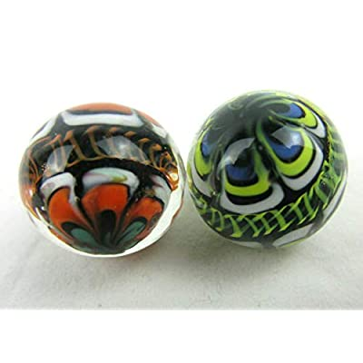 Big Game Toys ~Set of 2 RINKY-DINK16mm Handmade Art Glass Marbles Orange Blue Green Lattice Design: Home & Kitchen
