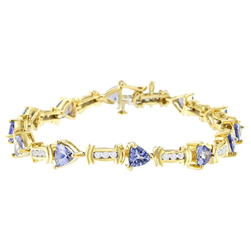 Original Classics 14K Yellow Gold Round-Cut Diamond and Tanzanite Bracelet (5.15 cttw, H-I Color, SI2-I1 Clarity)